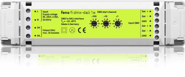 fi dmx-dali 1e - 4 channel DALI to DMX interface